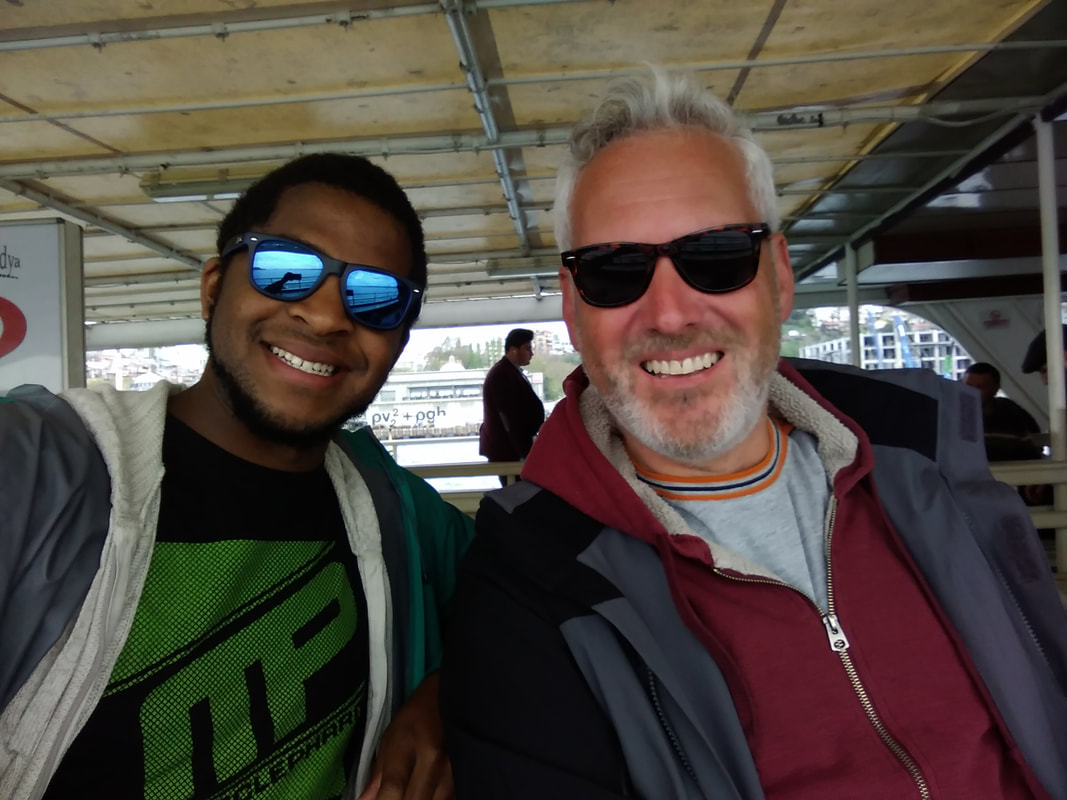 Picture of Blair and Nicolo on a Bosporous ferry.