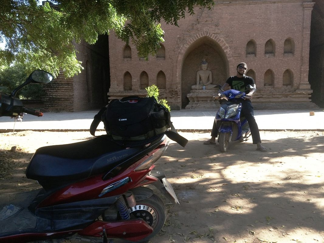Picture of eBikes in front of a temple