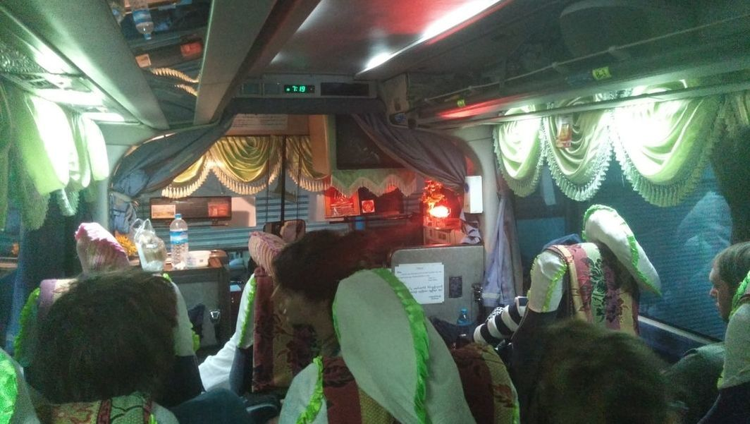 View from inside a VIP Myanmar long distance bus