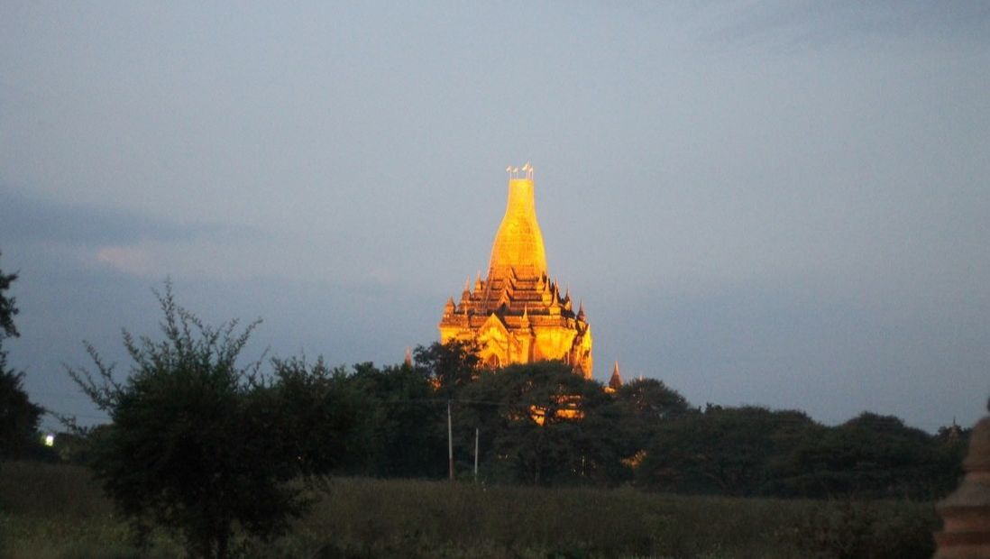 Picture of a pagoda lit up at dusk