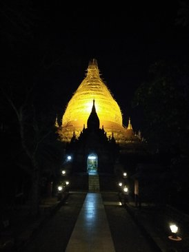 Picture of a lit pagoda at night