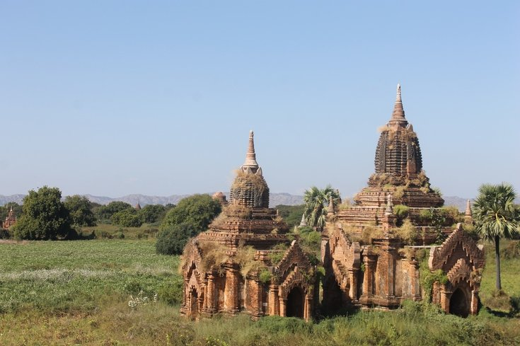 View of two pagodas in Bagan