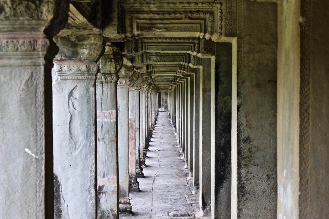 Picture from inside Angkor Wat looking down the hall