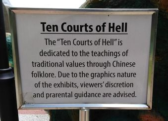 Picture of a sign describing the Ten Courts of Hell.